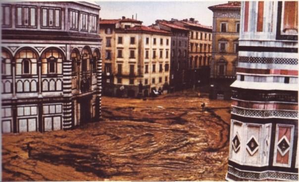 Una foto a colori dell'alluvione del 1966, del cui cinquantenario sabato 22 iniziano le celebrazioni ufficiali