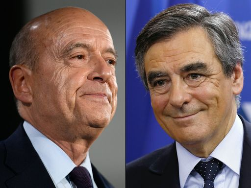 (COMBO) This combination of pictures created on November 20, 2016 shows the winning candidates for the French right-wing presidential primary Francois Fillon (R) and Alain Juppe at htheior respective campaign headquarters after the vote's first round, on November 20, 2016 in Paris. / AFP PHOTO / Martin BUREAU AND Thomas SAMSON