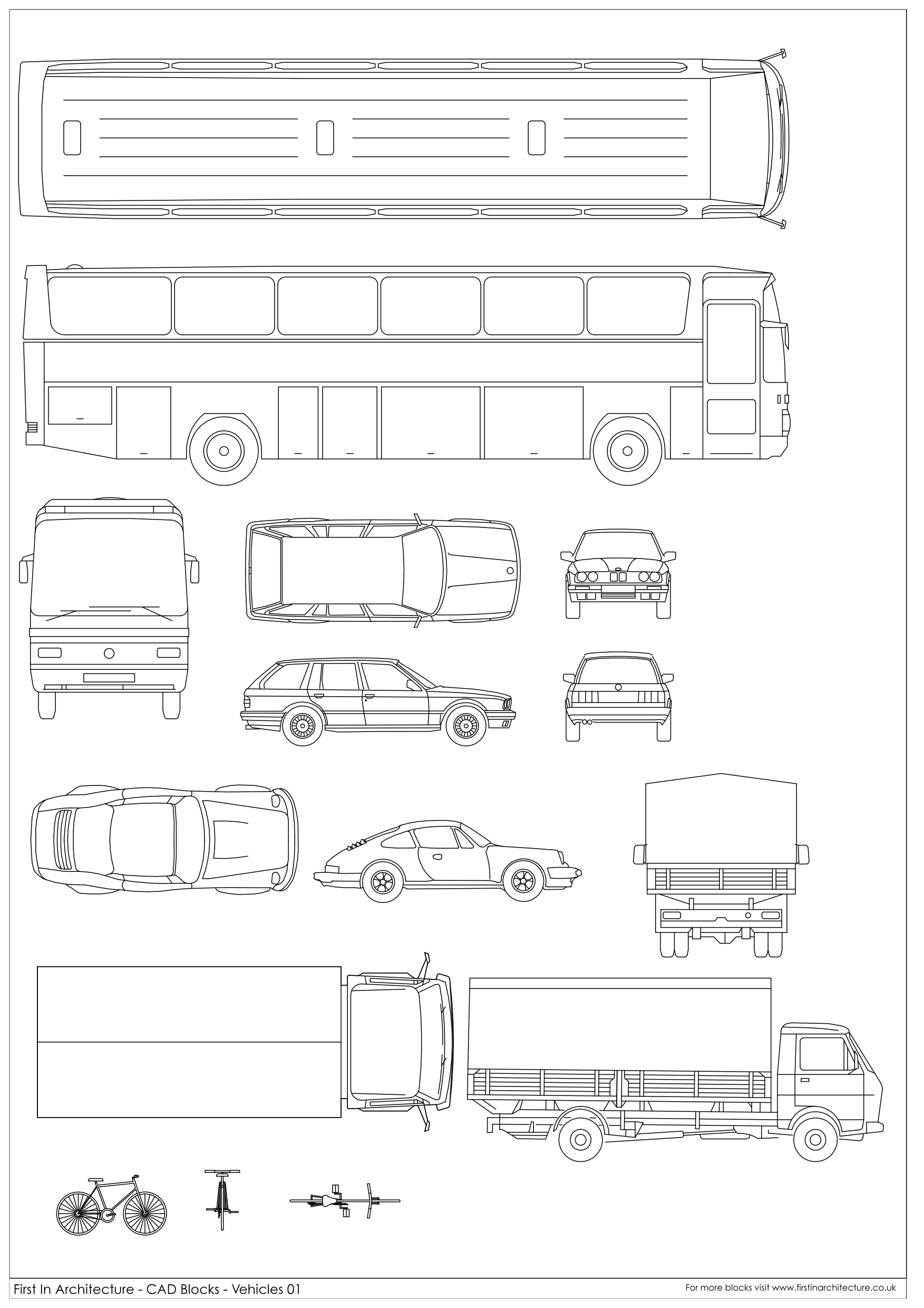 Cad blocks vehicles 01 first in architecture for Online cad drawing