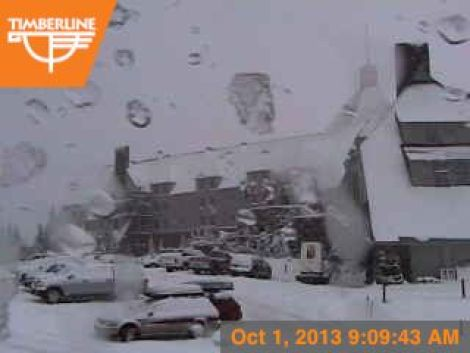 Timberline Lodge on Mt. Hood, Ore. this morning. (photo: Timberline Lodge)