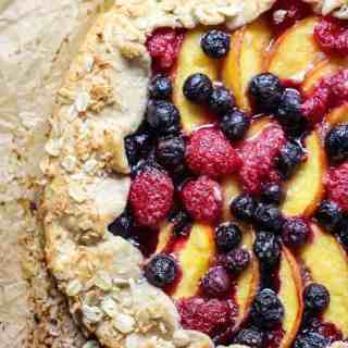 Make this Berry Peach Galette on a whole wheat crust for a lighter summer dessert.