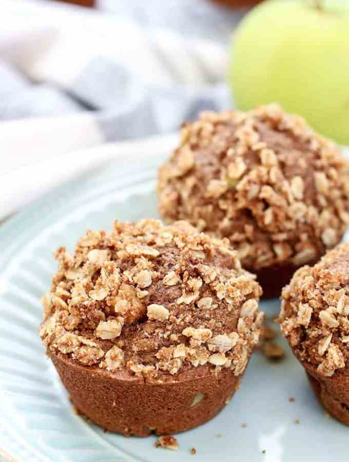So much flavor in these Cinnamon Apple Muffins. Whole Wheat, dairy-free, so amazing!
