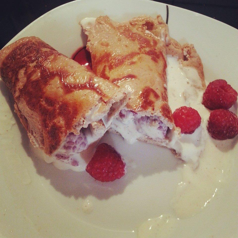 Protein Pancakes mit Himbeeren
