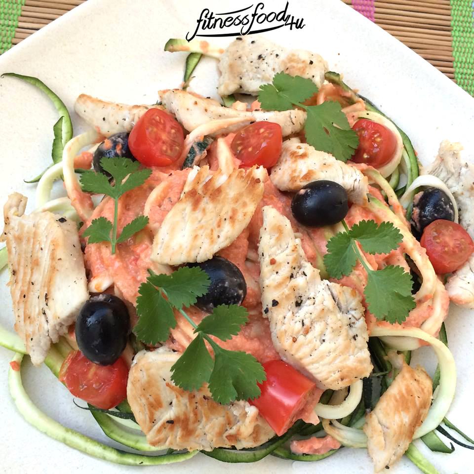 Zoodles mit Tomatenpesto und Hähnchen
