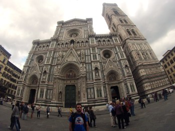 By the Florence Cathedral in Florence, Italy.