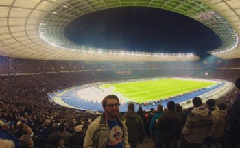 Fitzmagic at a Hertha BSC match at the Olympiastadion in Berlin, Germany.