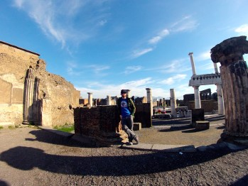At the ruins of Pompeii in Pompei, Italy.