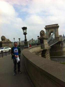 Out by the Chain Bridge in Budapest.
