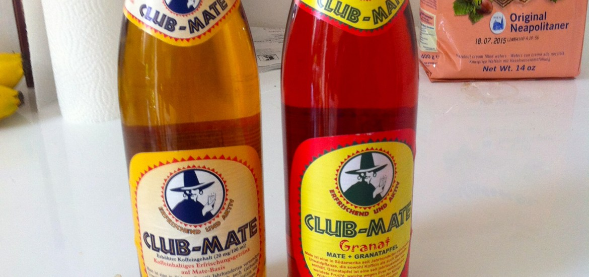 Two versions showed here.  On the left is the original and on the right is Club Mate Granat, or pomegranate flavor.