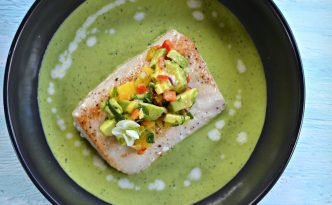Pan Seared Mahi Mahi, Pea Soup, and Avocado-Mango Salsa Recipe | Five Senses Palate