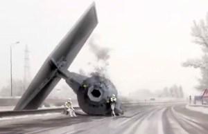 Star Wars TIE Fighter Crash On Snowy German Highway