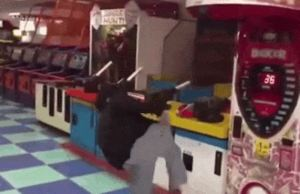 Guy Kills Arcade Machine With Badass Spinning Kick