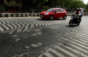 It's So Hot in India the Asphalt is Melting