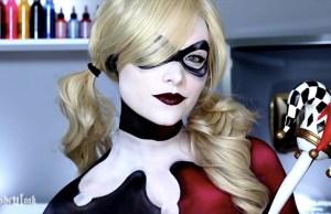 Harley Quinn Body Paint Makeup Tutorial