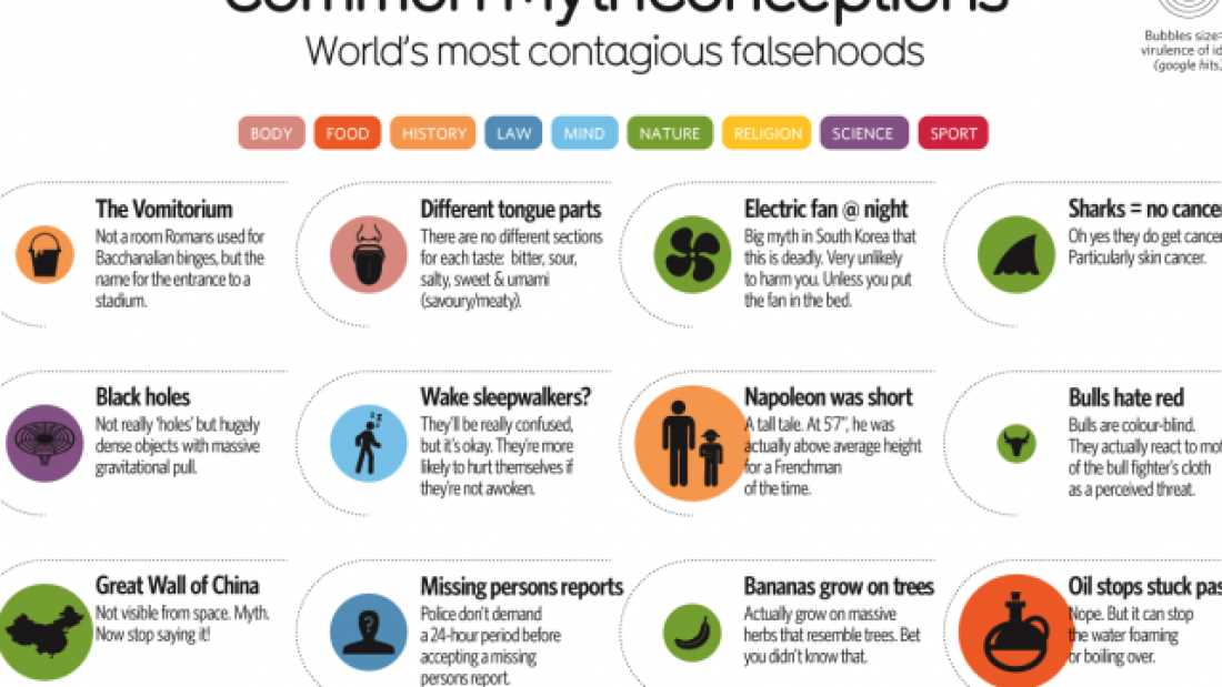 52 Of The Most Common Myths Debunked In One Infographic