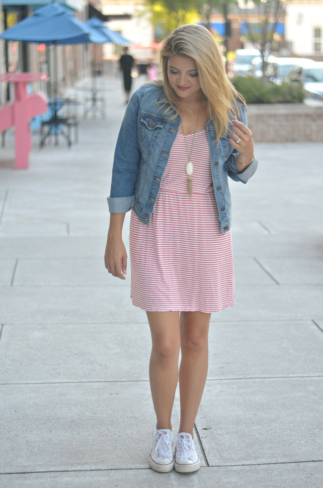 preppy weekend outfit - red stripe dress, denim jacket, converse | www.fizzandfrosting.com