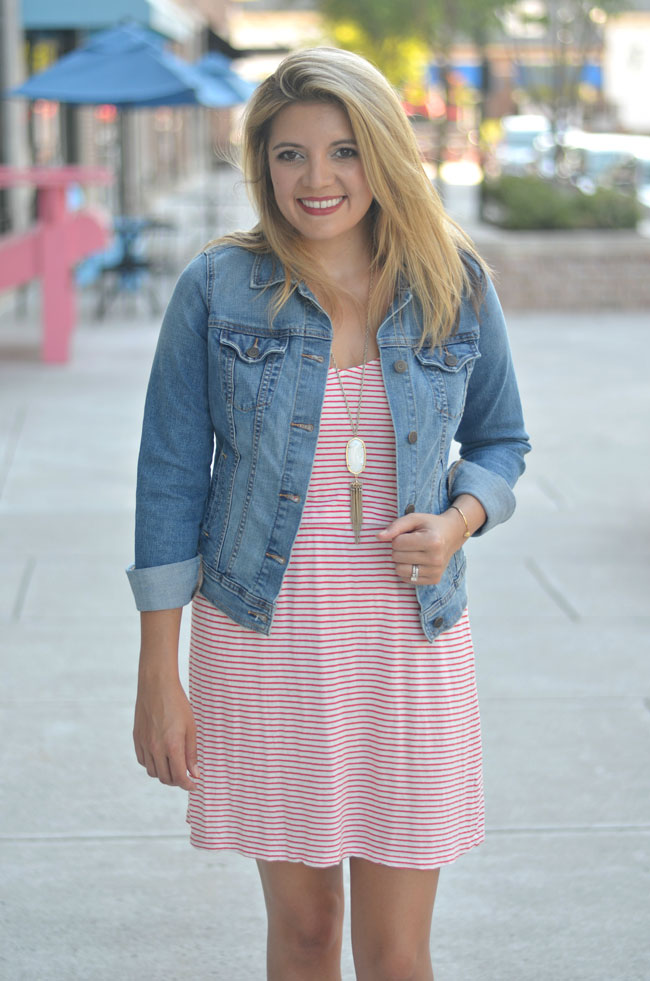ways to wear a tshirt dress - red jcrew stripe dress, denim jacket, converse | www.fizzandfrosting.com
