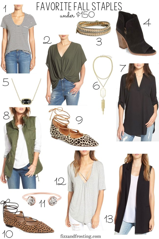 fall wardrobe necessities + examples of how to wear each piece! See the full post for details. | www.fizzandfrosting