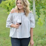stripe off shoulder top for fall | www.fizzandfrosting.com