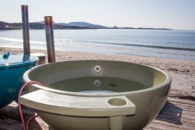 Nyt det gode liv i en badestamp