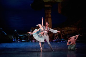 "Tamara Rojo and Osiel Gouneo in English National Ballet's ""Le Corsaire."" Photograph by Laurent Liotardo"