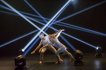 "Alexander Whitley and Natalie Allen in ""Pattern Recognition"" by Alexander Whitley. Photograph by Tristram Kenton"