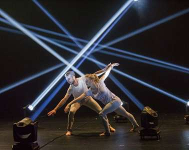 """Alexander Whitley and Natalie Allen in """"Pattern Recognition"""" by Alexander Whitley. Photograph by Tristram Kenton"""