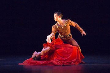 """Samara Downs and Chi Cao in """"The Moor's Pavane."""" Photograph by Andrew Ross"""