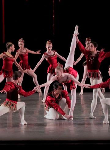 "Teresa Reichlen in ""Rubies"" from Balanchine's ""Jewels."" Photograph by Paul Kolnik"
