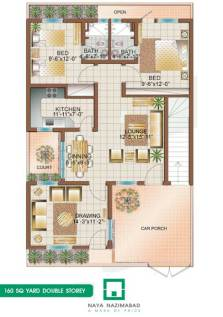 Bungalow 160 sq yards Double Story Ground Floor
