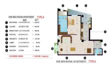 Balcony 99 Apartments DHA Lahore - 1 bed room layout plan