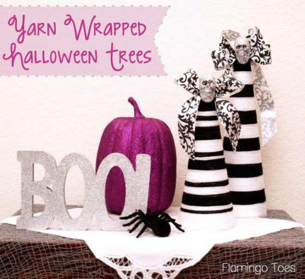yarnwrappedhalloweentrees.