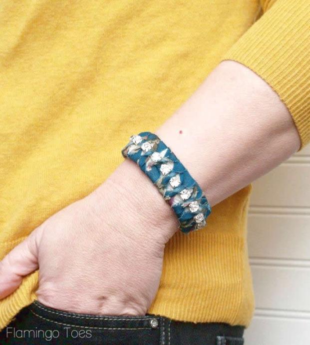 DIY fabric wrapped bracelet
