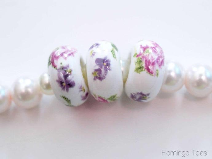 large floral beads for bracelet