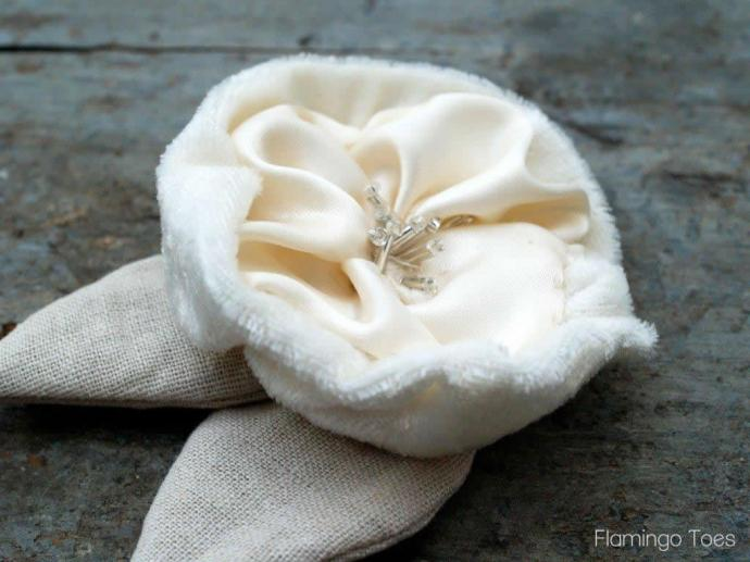 Fabric and Bead Flower