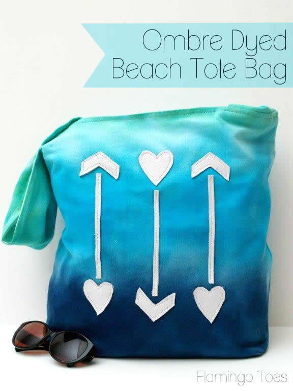 Ombre Dyed Beach Tote Bag