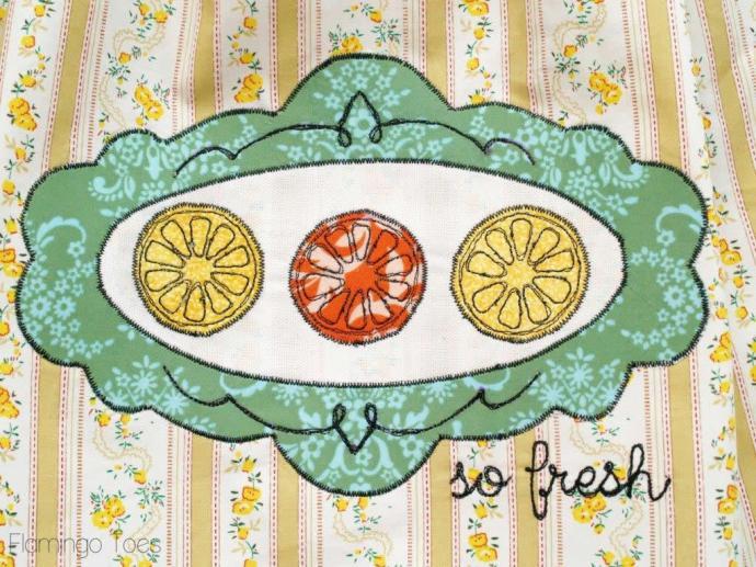 Citrus Embroidery Dishtowel DIY