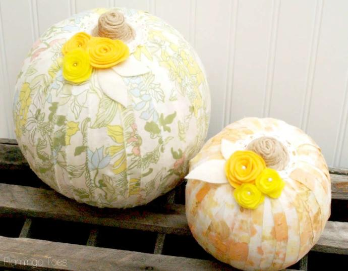 fabric wrapped pumpkins