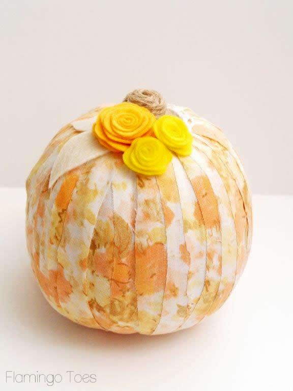 felt flowers on pumpkins