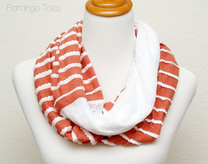 ruffle knit and lace scarf