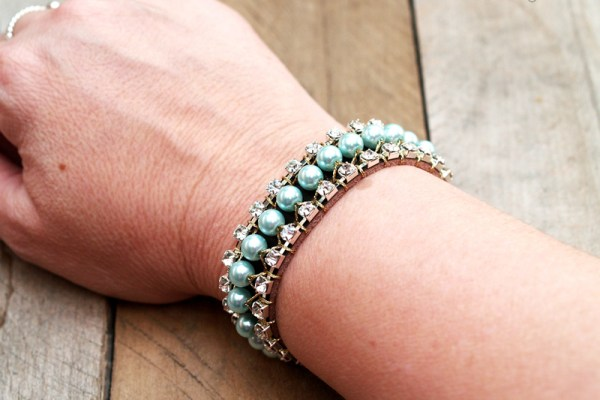 Rhinestone Pearl and Leather Cuff