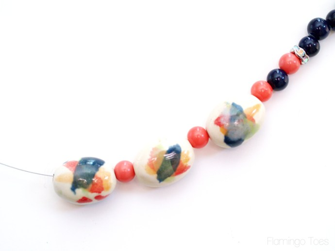 Watercolor beads on necklace