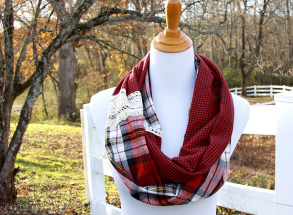 DIY Plaid and Lace Scarf