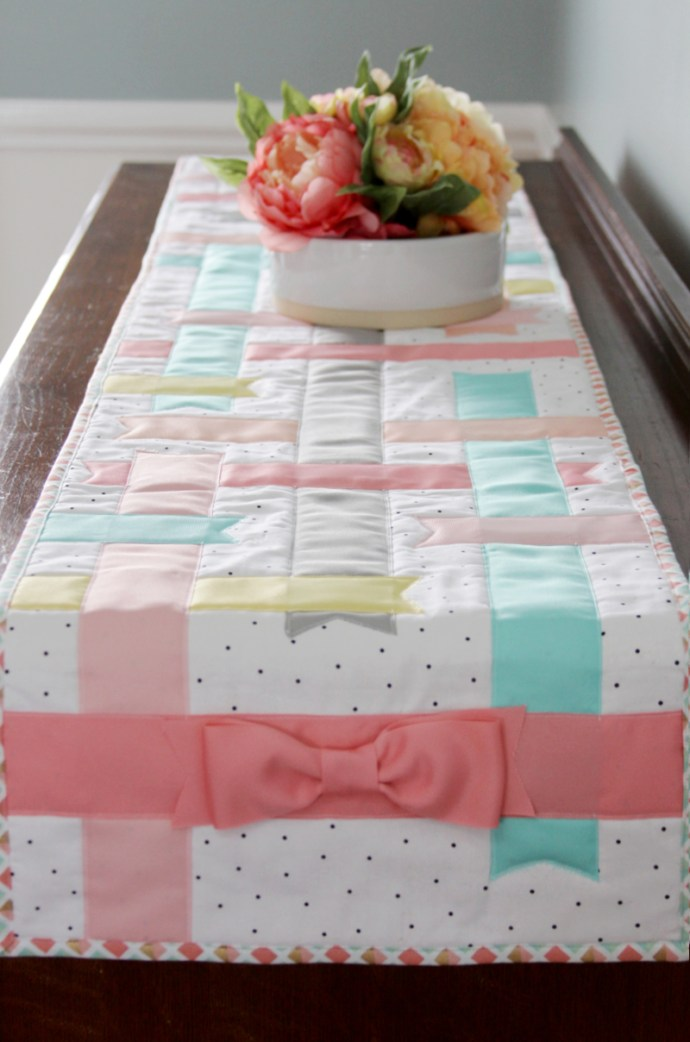 DIY Spring Ribbons & Bows Table Runner, shared by Flamingo Toes at The Chicken Chick's Clever Chicks Blog Hop