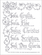 Free Calligraphy Coloring Sheet - Five Solas