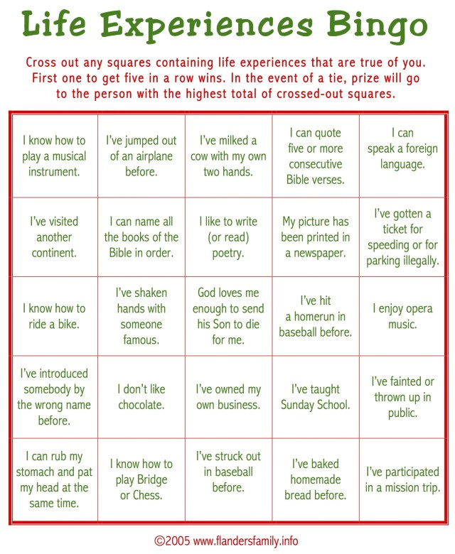 Ice Breaker BINGO (Free Printable) : The Flanders Family Website