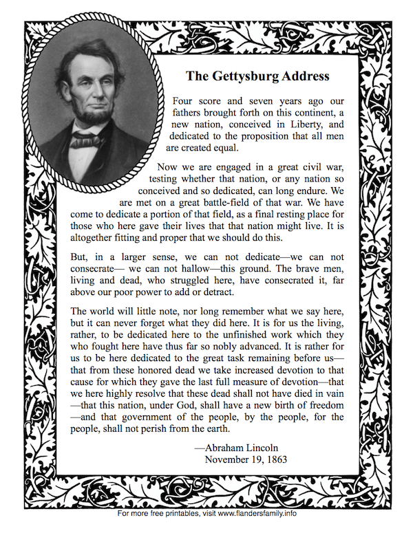 Crush image for gettysburg address printable
