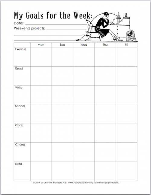 free printable planning chart that will help break weekly goals down into daily, bite-sized tasks | www.flandersfamily.info