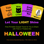 Free printable gospel tracts to share with trick-or-treaters this Halloween | from www.flandersfamily.info