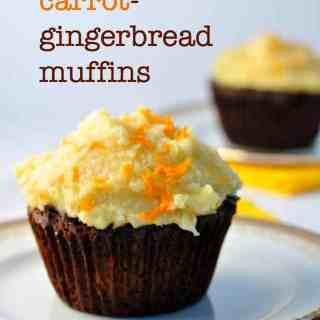 Carrot-Gingerbread Muffins with Coconut Butter Frosting. Grain-free, dairy-free. from Flavour and Savour